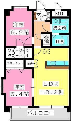 シャトー周船寺駅前 / 406号室間取り
