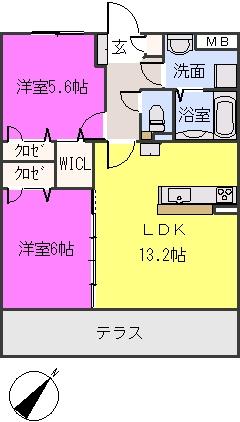 フィオーレ波多江駅南 / 105号室間取り