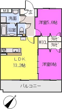 フィオーレ波多江駅南 / 303号室間取り