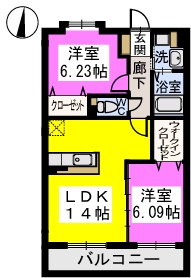 カーサ コスタ / 102号室間取り