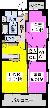 コゥジィーコート 駅前通り / 605号室間取り