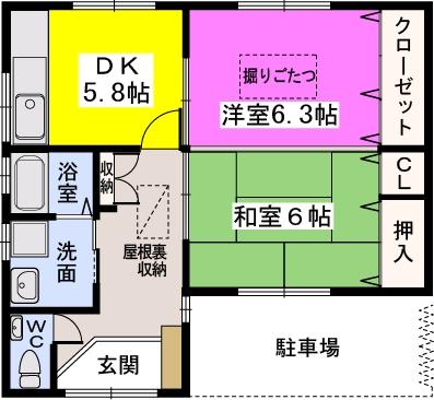 泉1丁目貸家 / A号室間取り