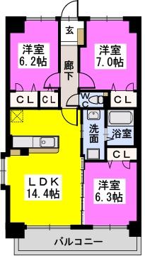 グランドルーチェ駅南 / 701号室間取り