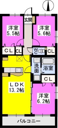 プレアマール / 201号室間取り