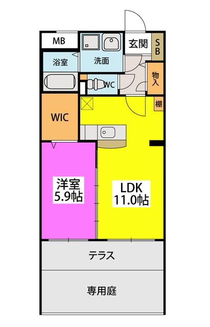(仮)田尻賃貸マンション / 103号室間取り