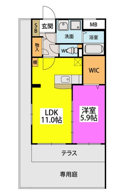 (仮)田尻賃貸マンション / 107号室間取り