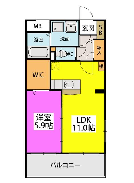 (仮)田尻賃貸マンション / 201号室間取り