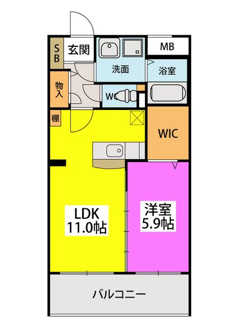 (仮)田尻賃貸マンション / 202号室間取り