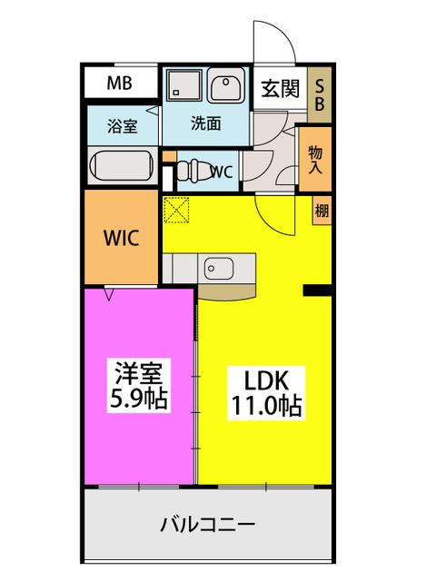 (仮)田尻賃貸マンション / 206号室間取り
