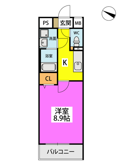 (仮)ハイツウェルス4九大マンション / 206号室間取り