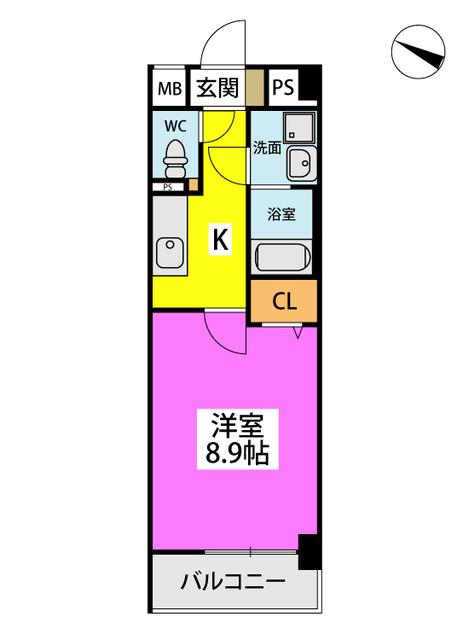 (仮)ハイツウェルス4九大マンション / 411号室間取り