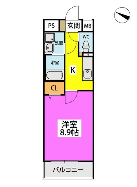 (仮)ハイツウェルス4九大マンション / 412号室間取り