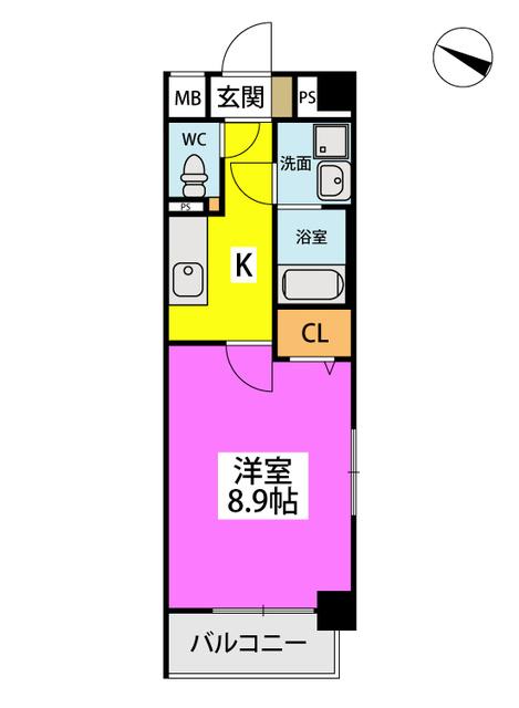 (仮)ハイツウェルス4九大マンション / 413号室間取り