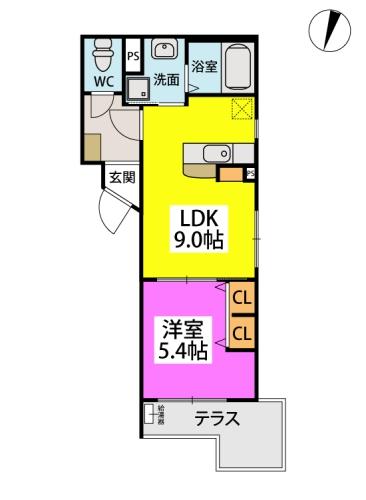 (仮)周船寺Mビル / 102号室間取り