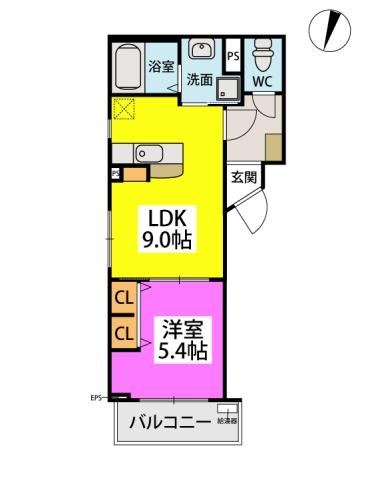 (仮)周船寺Mビル / 401号室間取り