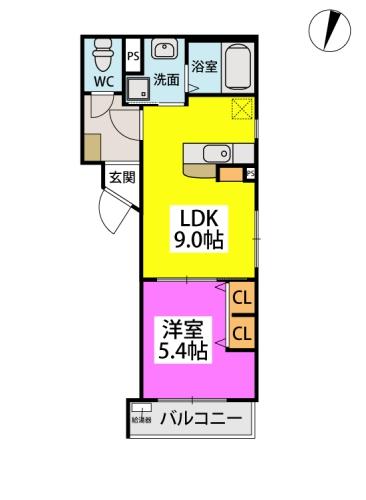 (仮)周船寺Mビル / 402号室間取り
