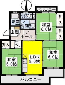 ビレッジ都府楼Ⅱ / 403号室間取り