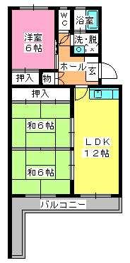 シャトー渡辺 / 406号室間取り