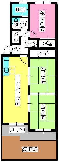 シティハイツ萩尾 / 102号室間取り