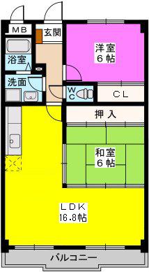 シャトレ壱番館 / 502号室間取り