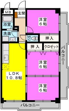 シャトレ壱番館 / 603号室間取り