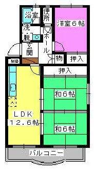 シャルマン観世Ⅱ / 201号室間取り