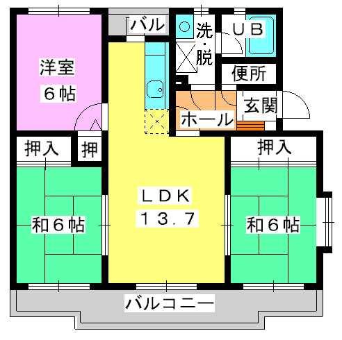 シャルマン観世Ⅲ / 201号室間取り