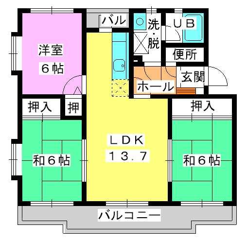 シャルマン観世Ⅲ / 303号室間取り
