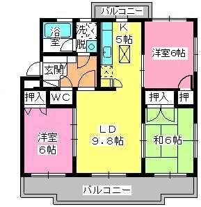 パストラル杉塚 / 105号室間取り