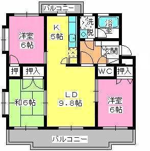 パストラル杉塚 / 301号室間取り