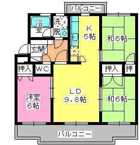 パストラル杉塚 / 302号室間取り