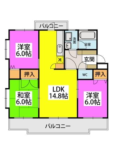 パストラル杉塚 / 401号室間取り