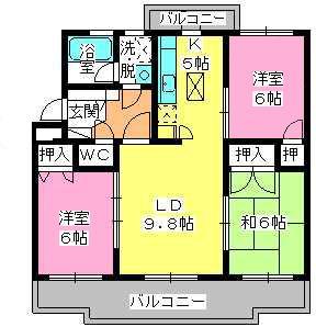 パストラル杉塚 / 402号室間取り