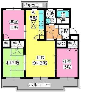 パストラル杉塚 / 403号室間取り