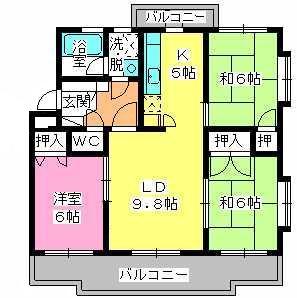 パストラル杉塚 / 405号室間取り