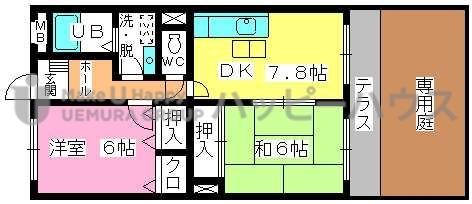 シャトレ針摺Ⅱ / 101号室間取り