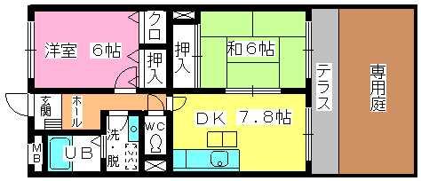 シャトレ針摺Ⅱ / 102号室間取り