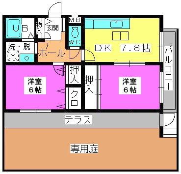 シャトレ針摺Ⅱ / 103号室間取り