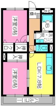 シャトレ針摺Ⅱ / 201号室間取り