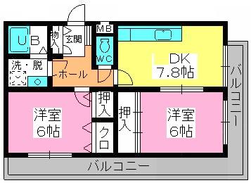 シャトレ針摺Ⅱ / 203号室間取り