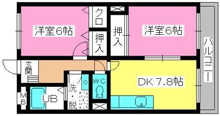 シャトレ針摺Ⅱ / 302号室間取り