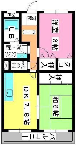 シャトレ針摺Ⅱ / 402号室間取り