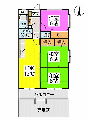 エクセレント中嶋Ⅱ / 101号室間取り