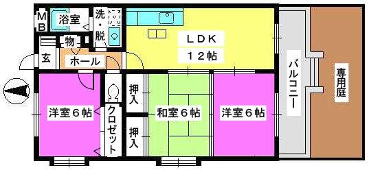 エクセレント中嶋Ⅱ / 105号室間取り
