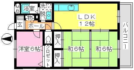 エクセレント中嶋Ⅱ / 202号室間取り