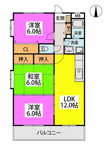 エクセレント中嶋Ⅱ / 205号室間取り