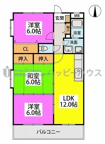 エクセレント中嶋Ⅱ / 305号室間取り