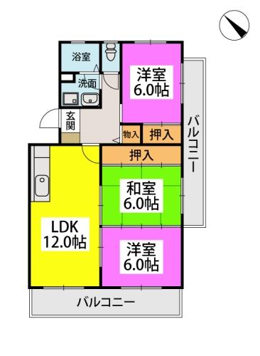 ファミーユ筑紫 / 301号室間取り