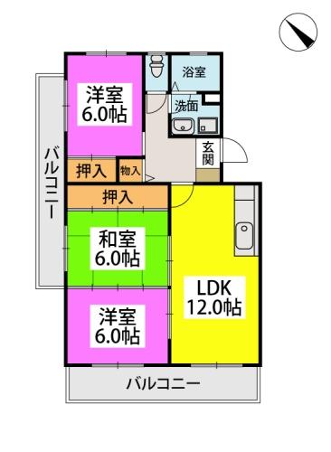 ファミーユ筑紫 / 305号室間取り