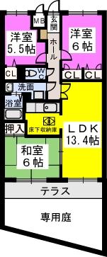 シャトレ弐番館 / 102号室間取り